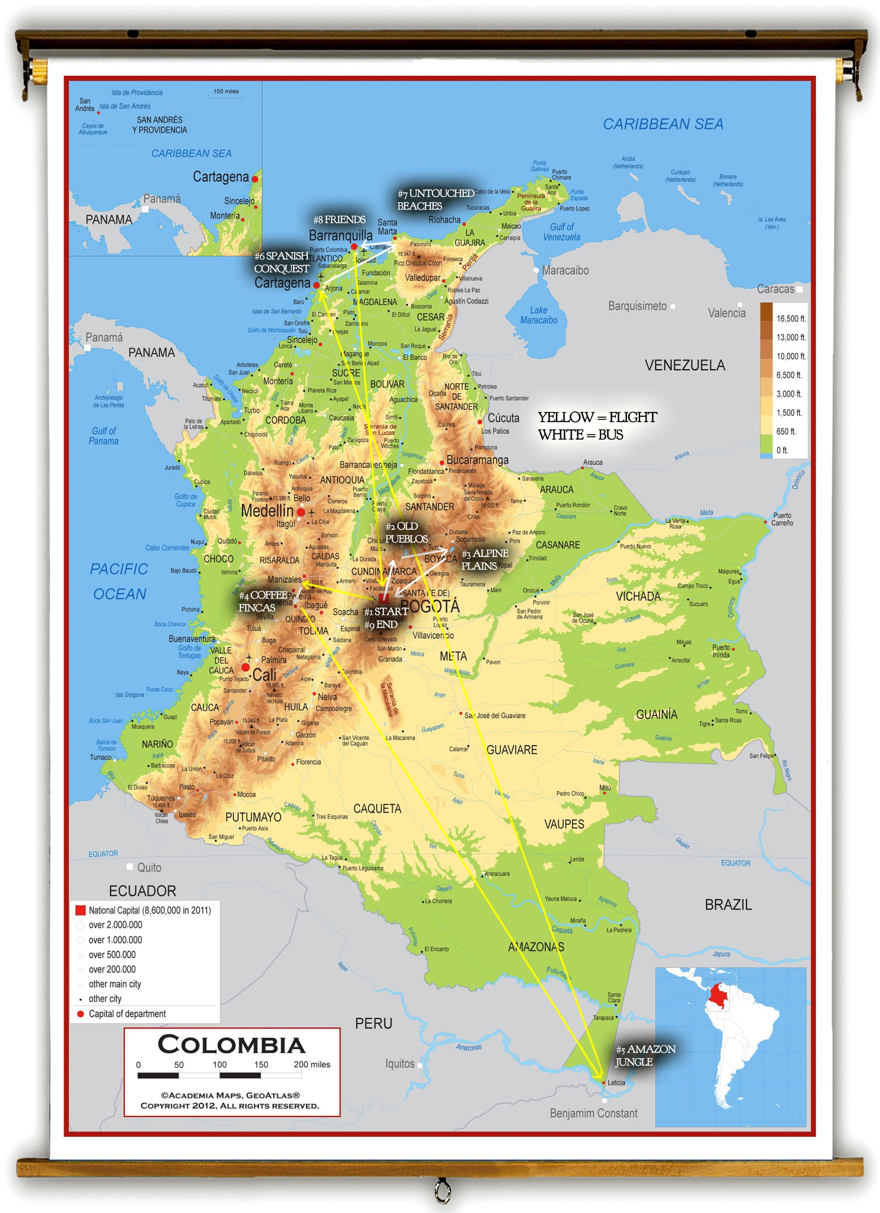 free range colombia  day  sleepless in bogota - we have an idea… colombia travel itinerary map